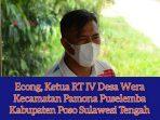 Econg Ketua RT IV Desa Wera, Kabupaten Poso. Saat Ditemui Redaksi KabarSAURUSonline
